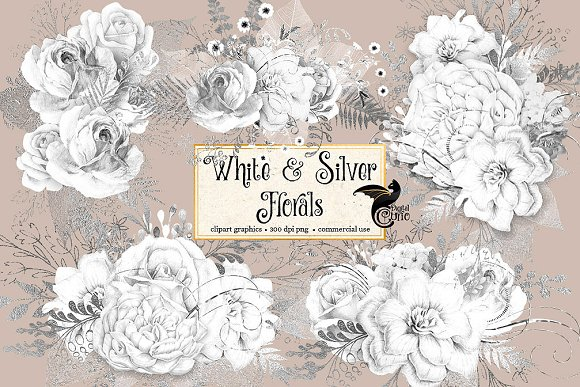 White and Silver Floral Clipart
