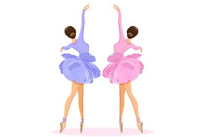 Ballerina dancing on pointe in flower tutu skirt vector set