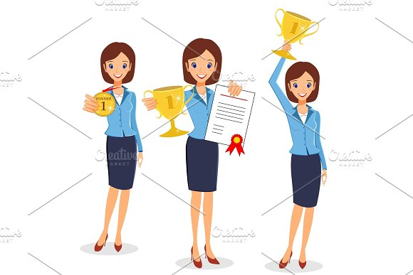 Business Woman Winner Set Cheerful Lady Holding Prize And Certi