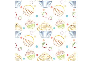 Cupcakes food pattern. Seamless vector background with muffins