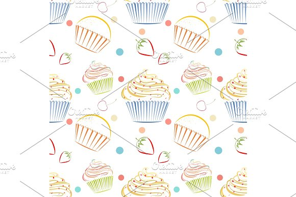 Cupcakes food pattern. Seamless vector background with muffins in Textures