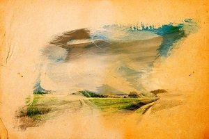 Landscape splashed with paint