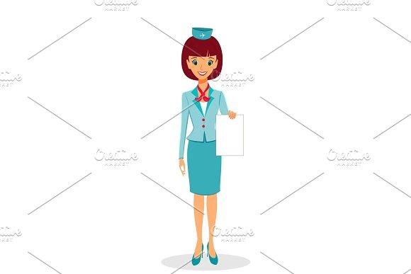 Cartoon Flight Attendant In Uniform Holding Blank Sheet Of Paper
