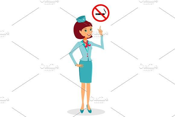 Cartoon Flight Attendant In Uniform Pointing On No Smoking Sign