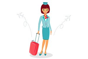 Cheerful cartoon flight attendant in uniform with suitcase