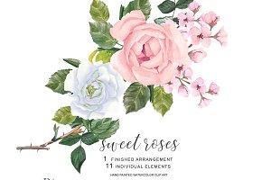 White & Pink Roses Clip Art