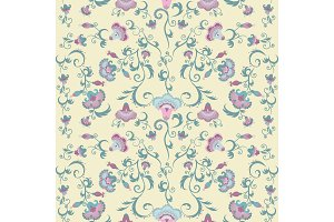 Oriental flowers pattern, floral ornament on beige background
