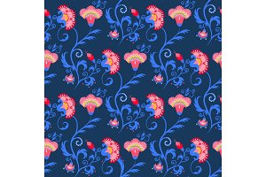 Seamless indian tribal vector pattern with oriental flowers