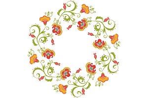 Floral wreath. Flower border frame indian theme