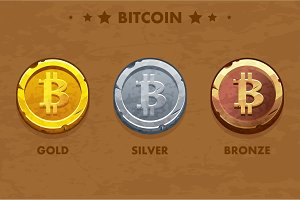 Isolated Gold, silver and bronze Bitcoin icon. Digital or Virtual currencies and electronic cash