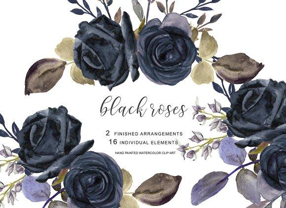 Watercolor Black Rose Clipart
