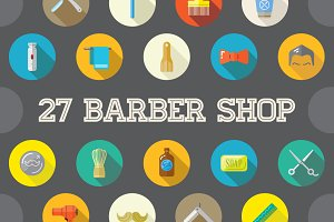 Awesome 27 Flat Vector Barber Icons
