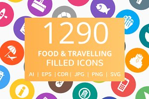 1290 Food & Travelling Filled Icons