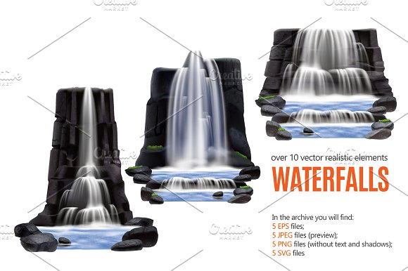 Waterfalls Realistic Set