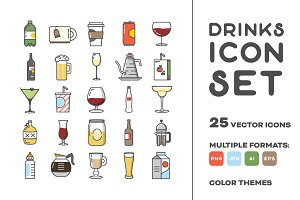 Drinks Vector Icon Set