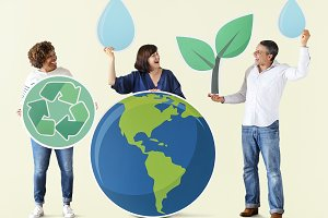 People with ecology icons (PSD)