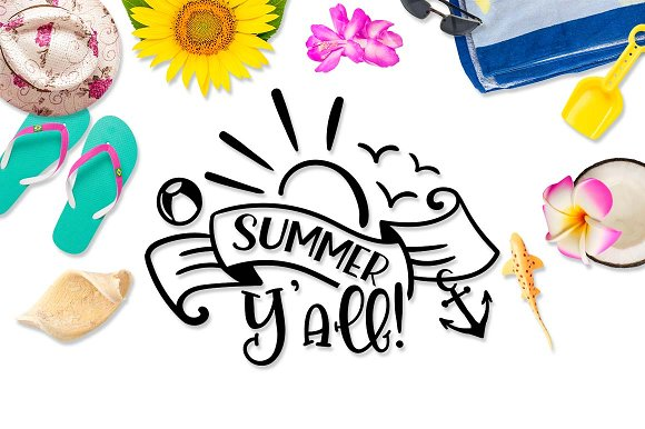 Summer Yall! SVG DXF PNF EPS in Illustrations