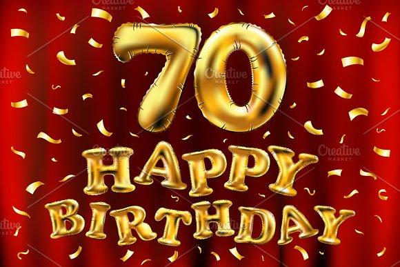 Happy Birthday 70 Balloons Gold