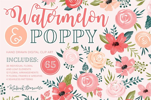 Watermelon Poppy Floral Clipart Set