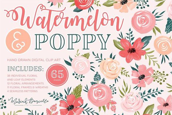 Watermelon Poppy Floral Clipart Set