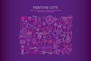 Festive City vector illustration