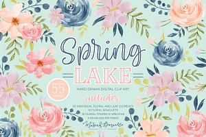 Spring Lake Flower Clipart Set