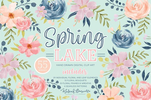 Spring Lake Flower Clipart Set