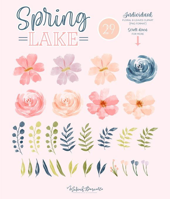 Spring Lake Flower Clipart Set in Illustrations - product preview 1