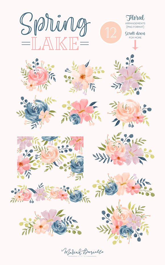 Spring Lake Flower Clipart Set in Illustrations - product preview 2