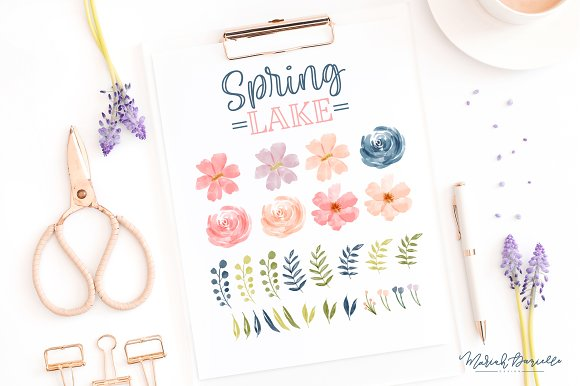 Spring Lake Flower Clipart Set in Illustrations - product preview 4