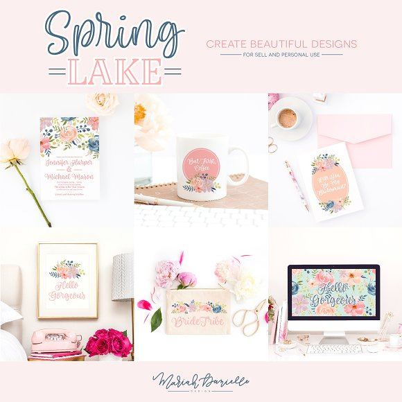 Spring Lake Flower Clipart Set in Illustrations - product preview 5