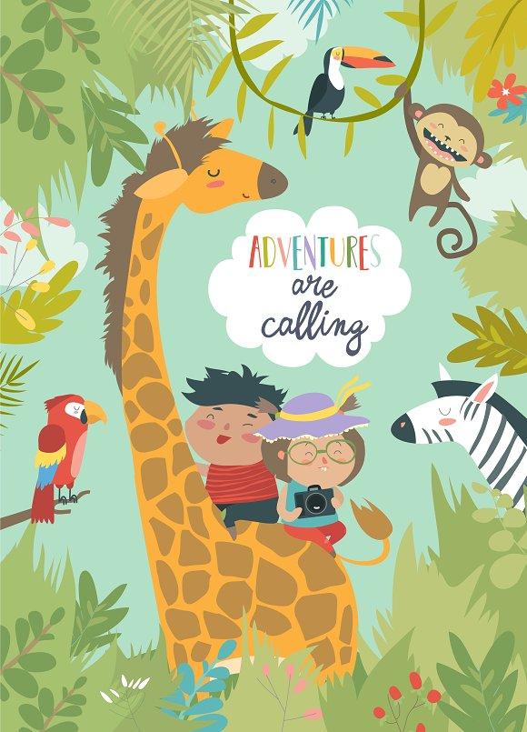 Happy Children Riding Giraffe