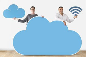 People hold cloud & tech icon (PSD)