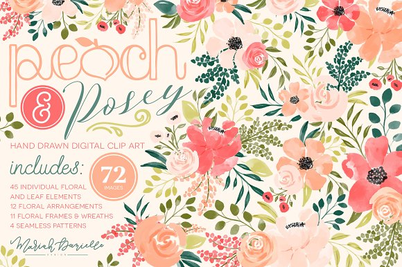 Peach & Posey Floral Clipart Set in Illustrations