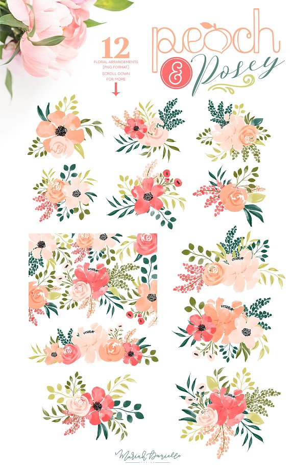Peach & Posey Floral Clipart Set in Illustrations - product preview 2