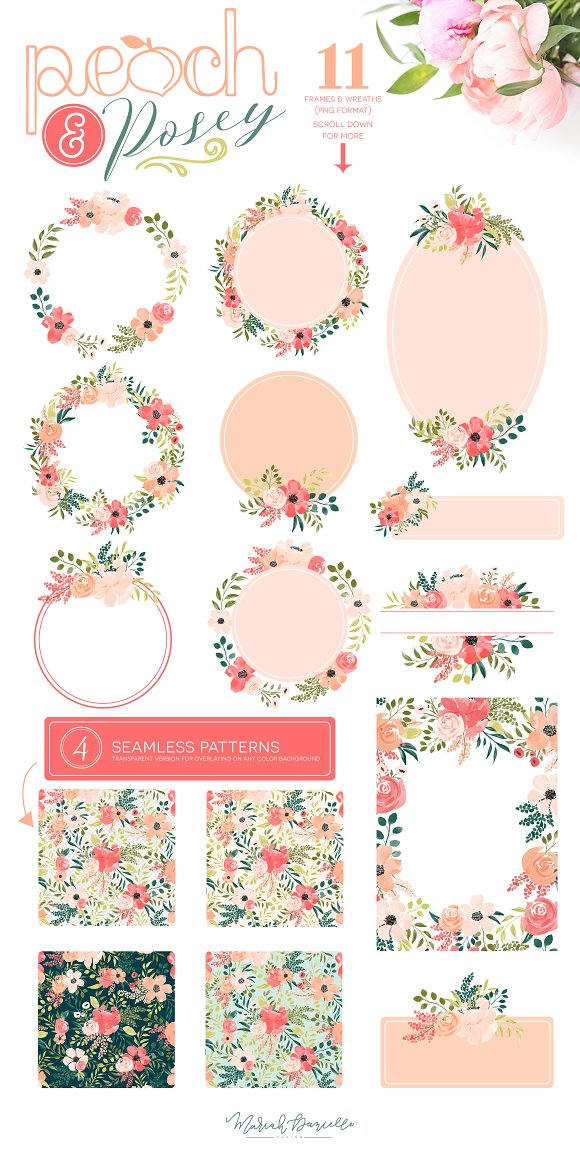 Peach & Posey Floral Clipart Set in Illustrations - product preview 3