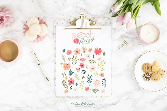 Peach & Posey Floral Clipart Set in Illustrations - product preview 4
