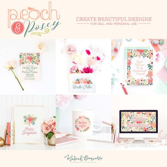 Peach & Posey Floral Clipart Set in Illustrations - product preview 5