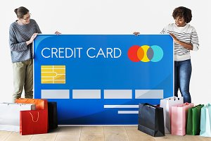 People holding a credit card (PSD)