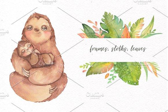 Watercolor Sloth Clip Art