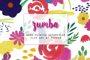 Bright Watercolor Floral Clip Art