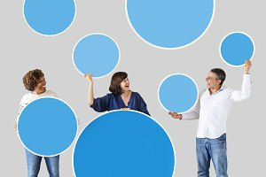 People holding circle icons (PSD)