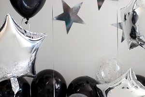 silver with black baby birthday decoration