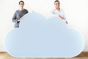 People holding a cloud icon