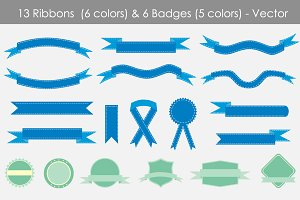 Badges and Ribbons Vector