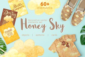 Honey Sky Vector Elements Set