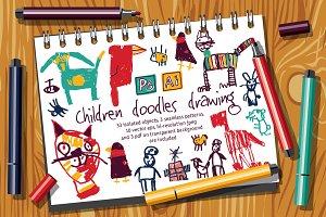 Children doodles drawing set