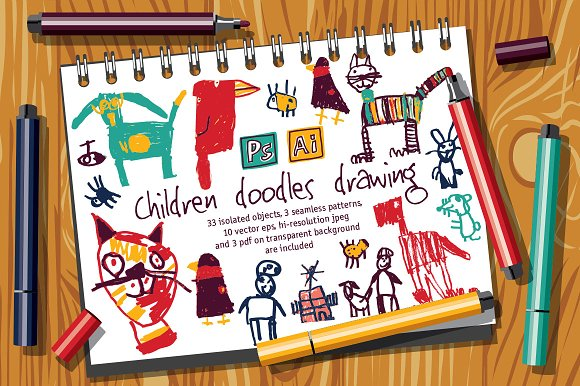 Children Doodles Drawing Set