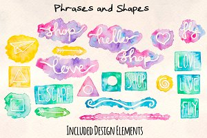 160+ Watercolor Embellishment Kit