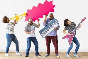 People enjoy music instruments (PSD)